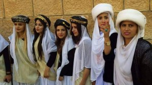 Yazidi Girls wearing traditional clothing