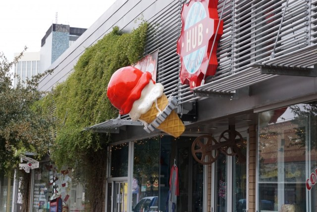 """Just down the street from the hotel on Congress is a handful of cool shops like HUB Ice Cream Factory...next door, there's a Undefeated-like """"hip hop"""" sneaker shop opening up called Rival Sneakers."""