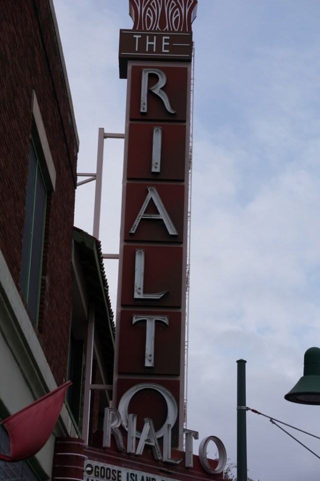 Here's the Rialto Theatre - directly across the street from Hotel Congress. Famous for Marilyn Manson performing with his back turned to the audience.