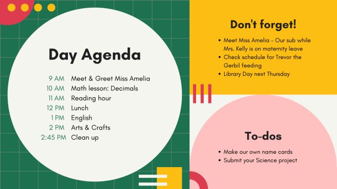 Canva template for a daily agenda poster that could be used in a classroom to show a student schedule.