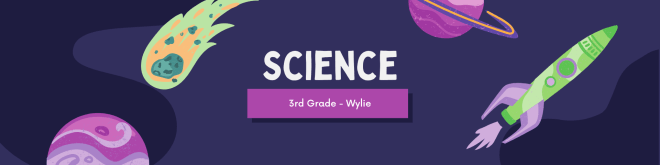 Google Classroom header template from Canva. Text reads Science, Wylie, and has planets and a rocket in the background