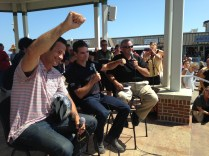 NASCAR superstar Jeff Gordon and Dogfish Head Craft Brewery founder Sam Calagione take part in a Q&A session at the Rehoboth Beach Bandstand on Aug. 20, 2014.