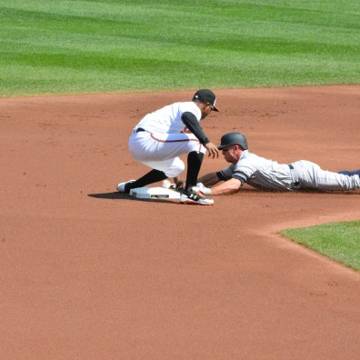 Orioles vs. Yankees, Sept. 7, 2017: Brett Gardner slides into second base safely.