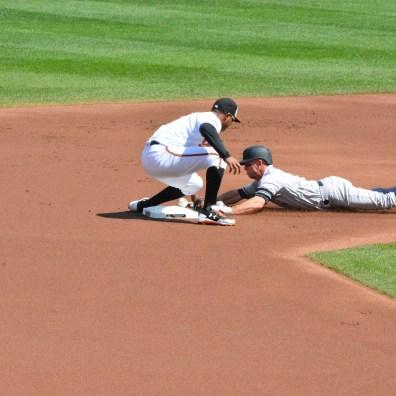 Orioles vs. Yankees, Sept. 7, 2017: Brett Gardner slides into second base safely.