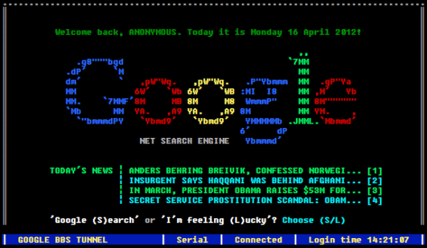 Screenshot of Google BBS Terminal