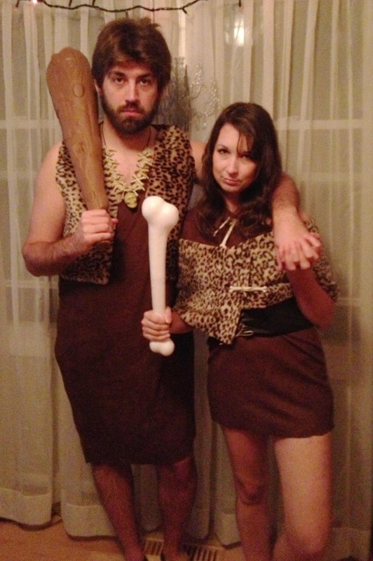 Christopher and Abby dressed as cave people for Halloween 2012.