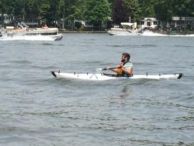 Christopher in Oru Kayak