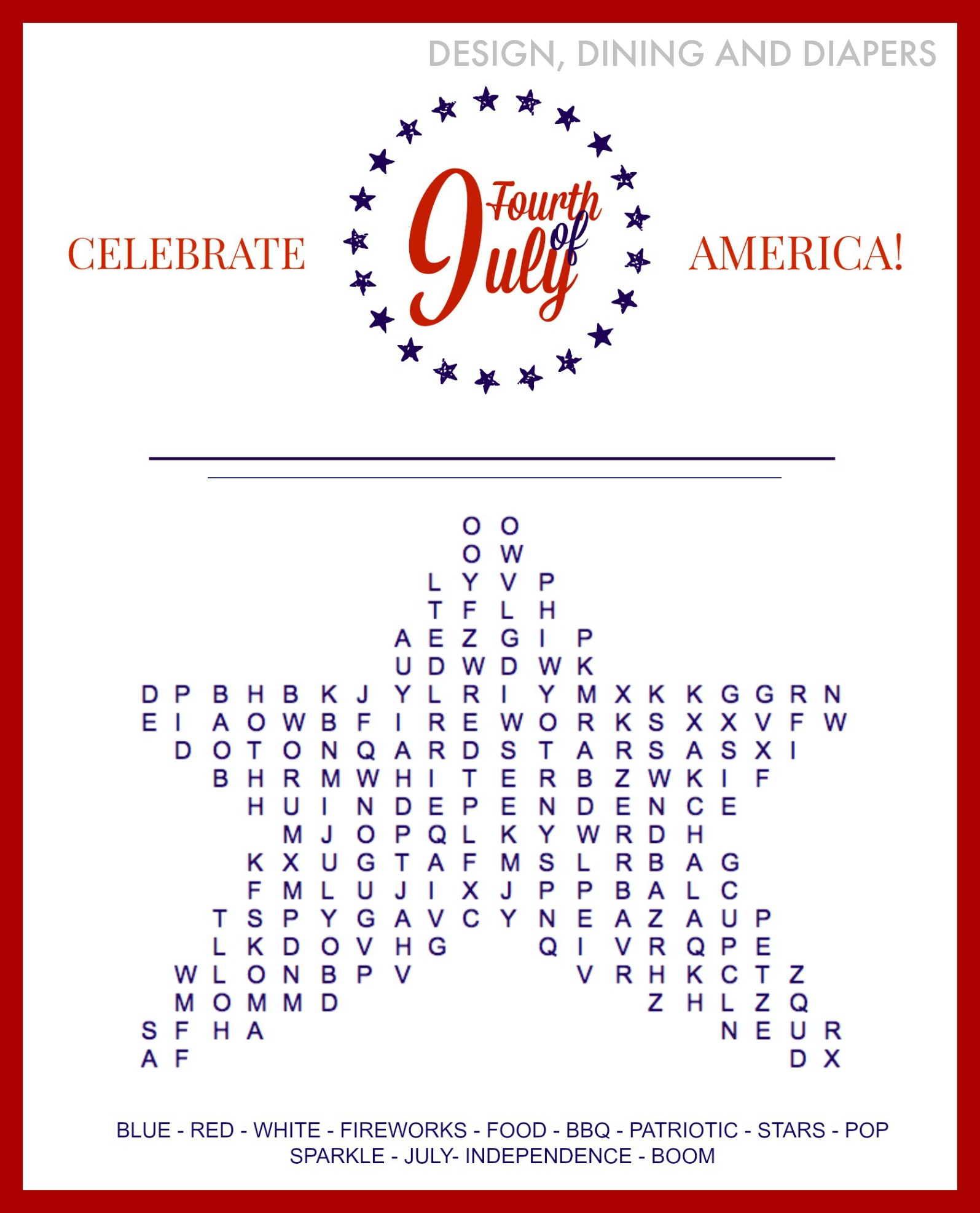 Word Search 4th Of July