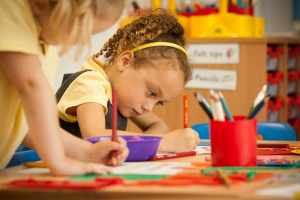 Pupils at in classroom drawing