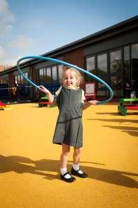 Hoola hooping school girl