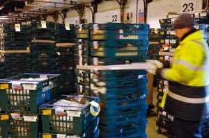 Trucks being loaded at Christmas in the Gist Warehouse