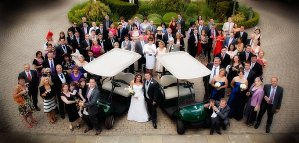 Group shot with golf buggies