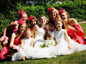 Bridal aprty having fun at Gate Street Barn