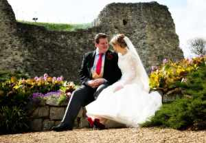 Bride with red shoes at Farnham Castle