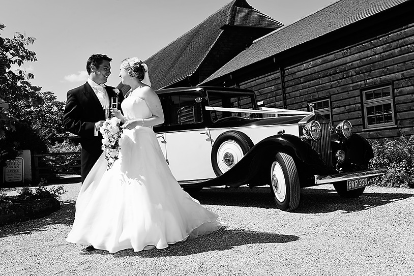 Arriving at Gate Steeet in vintage wedding car