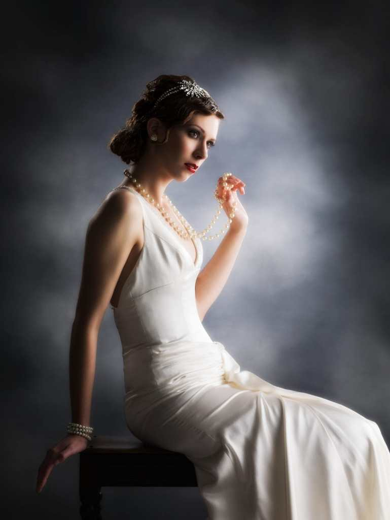 Muriel Finlay Inspired Bride with Pearls