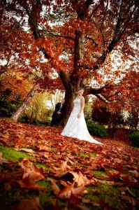 Bride and groom in the Autumn leaves at Woodlands Hotel