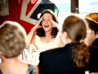 Embarrassed bride during speeches at Tetbury