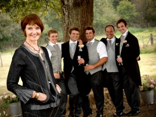 Mother and her sons at a country wedding