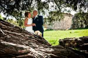 Bride and Groom at Waverley Abbey, looking over the Yew Tree roots
