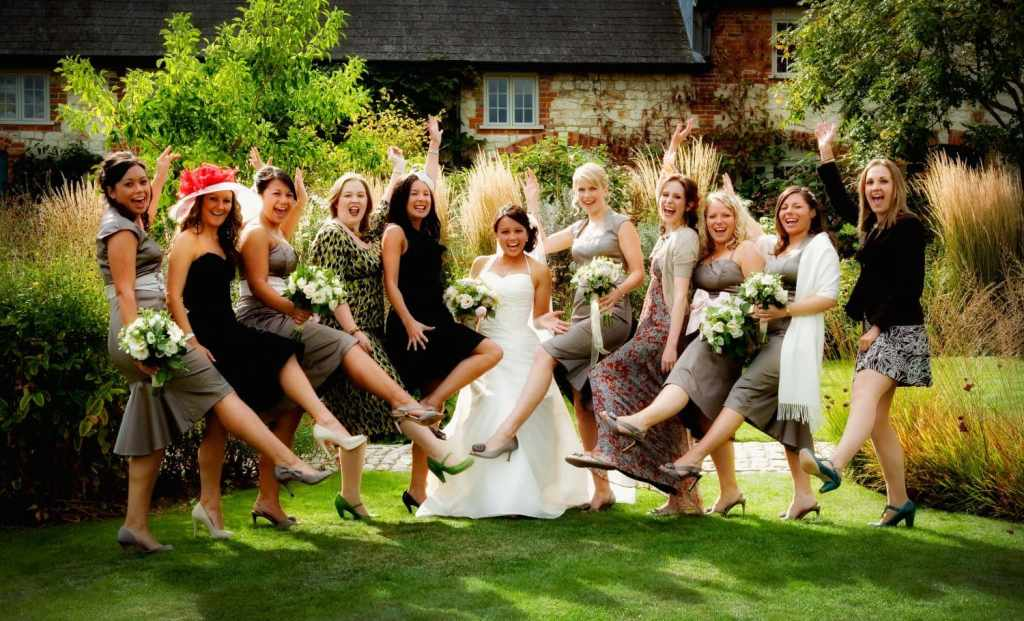 Girls having fun at a wedding at Bury Court