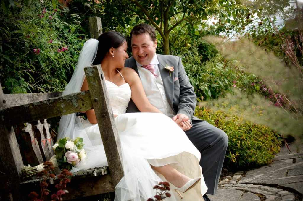 Newly weds laughing at Bury Court, Bently