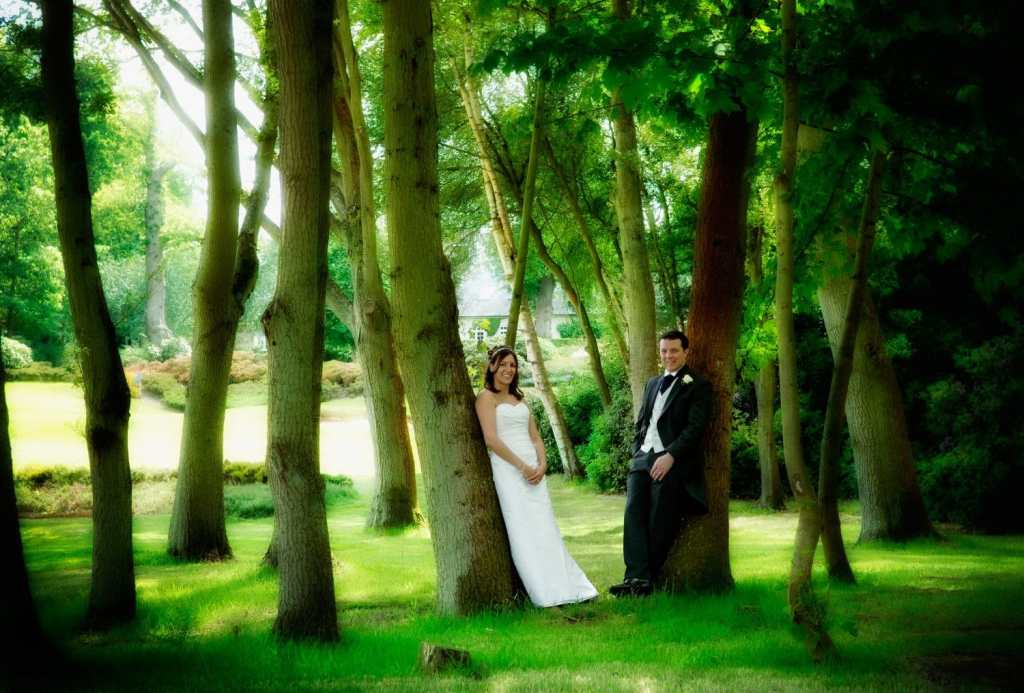 Wedding couple in the woods at Wentworth Golf Club