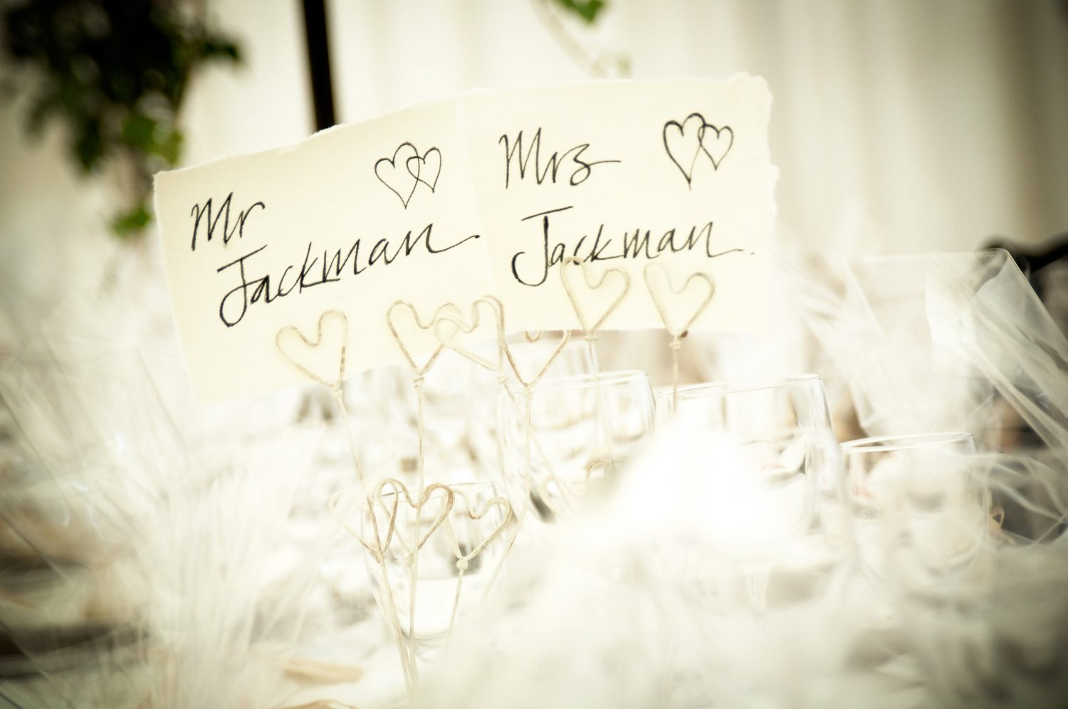 Handmade namecards at a marquee wedding