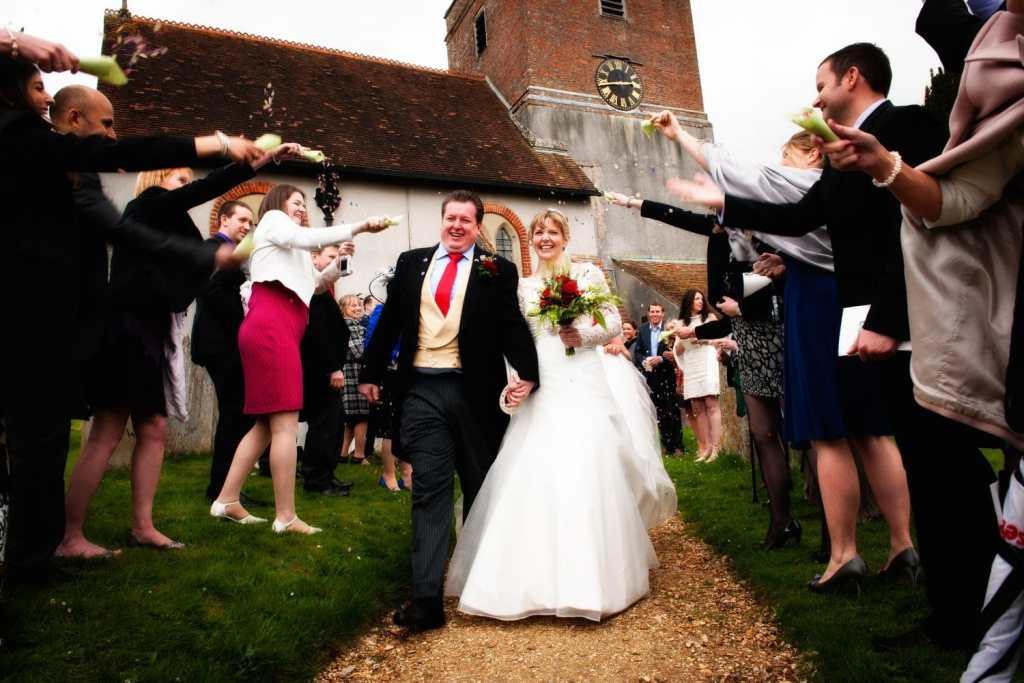 Confetti throwing at a Church wedding