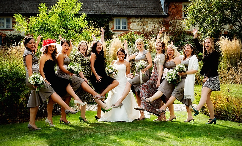 Fun group photography at The Barn at Bury Court