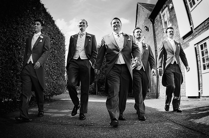 Groom and Groomsmen Pulp Fiction Style at The Barn at Bury Court, Surrey Wedding Photographer