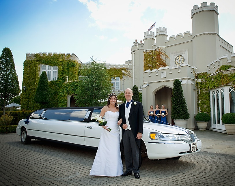 Bride and father arriving by limousine at Wentworth club