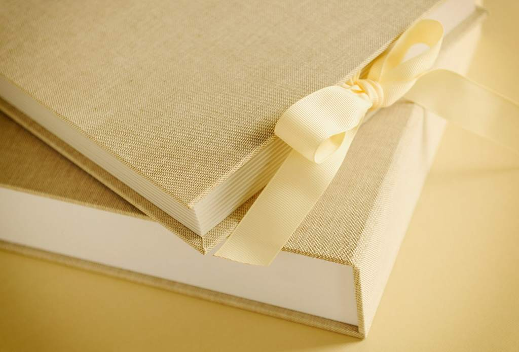 Detail of a linen cover wedding album