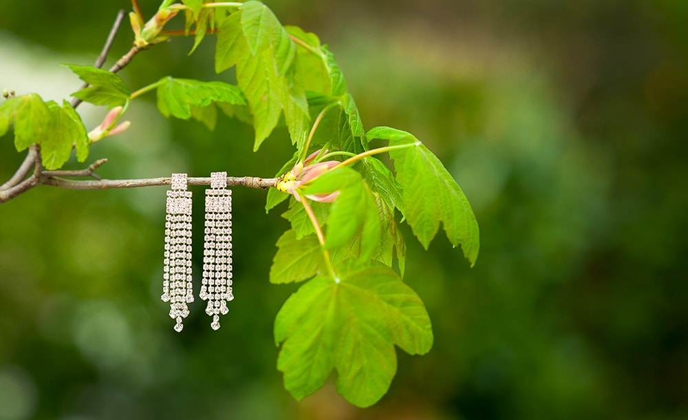 Vintage style diamond earrings hanging from a branch of a tree