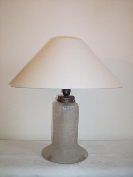 Daum Freres art deco acid-etched glass  table lamp, circa 1925