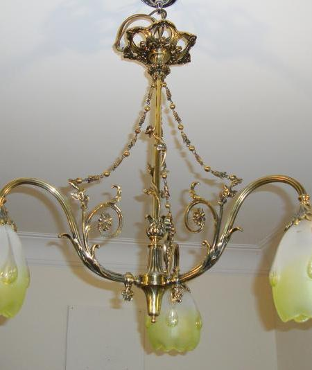 French neo-classical brass gasolier, circa 1910-30