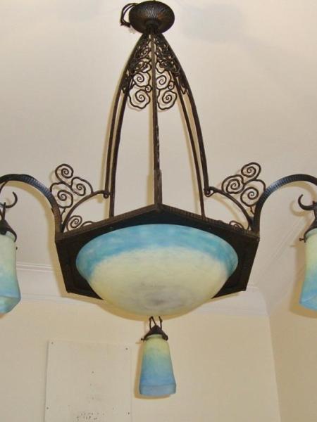 Muller Freres blue pate-de-verre ceiling fitting, circa 1925