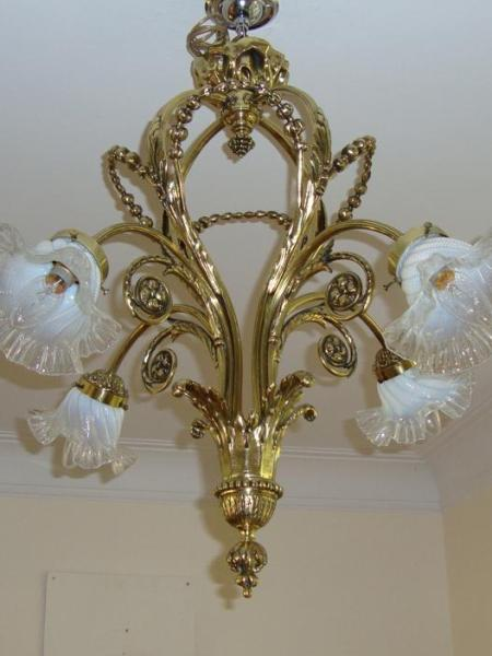 French cast-brass four-branch ceiling light, circa 1910