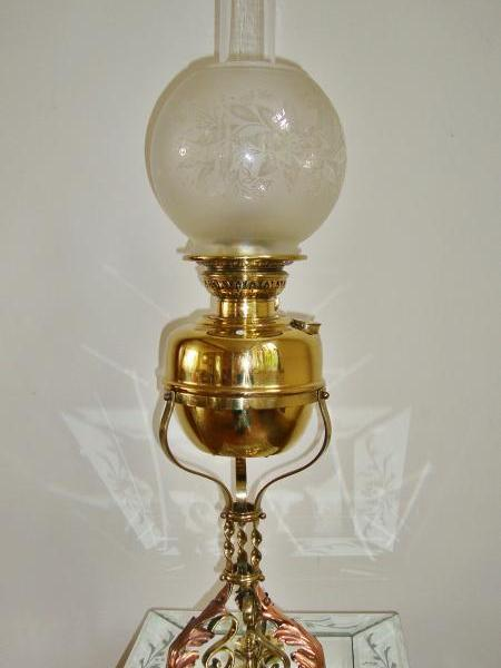 """Veritas Lampworks"" arts-and-crafts oil lamp, circa 1895"