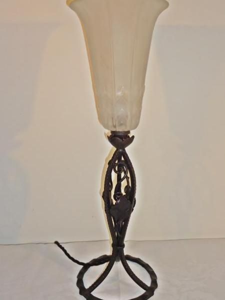 French wrought iron art deco table lamp, circa 1930