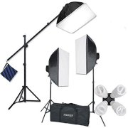 StudioFX-H9004SB2-2400-Watt-Large-Photography-Softbox-Continuous-Photo-Lighting-Kit-16-x-24-Boom-Arm-Hairlight-with-Sandbag-H9004SB2-by-Kaezi-0