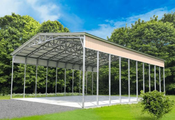 Open air carport metal building structure