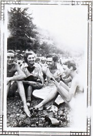 """03 Cage, me, Guil, & Dot Aug 1937 -- Cage was Frank Cage, Guil's debate partner in high school. They won state from Austin High. The """"me"""" in the caption is Bette."""