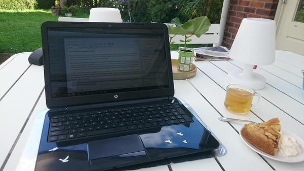 Woensdag was het zulk lekker weer dat ik kon bloggen in de tuin!