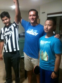 Kazakh ping pong champion and Clyde, the runner up