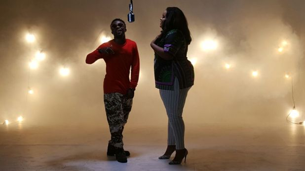 Afiba & Iyk Wonder on set