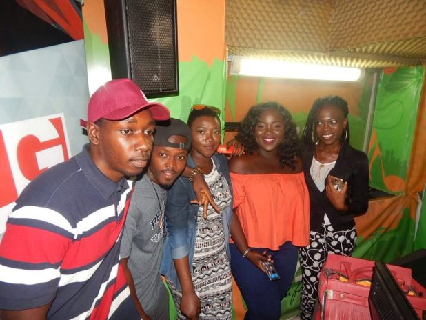 Dennis Cobblah in a shot with other contestants inside Y107.9FM studios