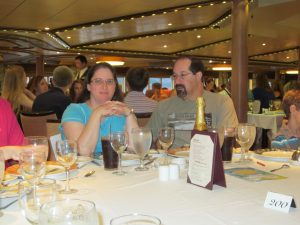 Stacy and Steve at dinner.