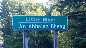 Canada road sign in Gaelic at Cape Breton