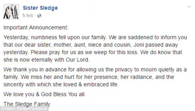 Joni Sledge Death Announcement